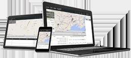 image of Spireon app on desktop, tablet, and mobile